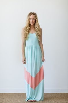 chevron stripe dress maxi dress in mint with coral stripe