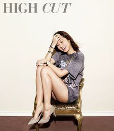 S.Korean actress Gong Hyo-Jin (공효진) for High Cut 2013, suede beige heels.