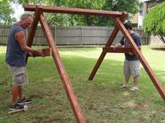 exactly how to build a swing in about an hour, outdoor living, repurposing upcycling, woodworking projects wood projects projects diy projects for beginners projects ideas projects plans Diy Wood Projects, Outdoor Projects, Upcycling Projects, Wood Crafts, Swing Set Plans, Swing Sets, Build A Swing Set, A Frame Swing Set, Porch Swing Frame