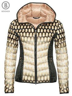 Bogner Fanny Jacket | Defining the structure of luxury, this soft honeycomb-printed down jacket from Bogner is drenched in a bold printed pattern that is rounded off by a logo in champagne-colored Swarovski crystals. The Fanny Jacket also features a contrast stripe at the hood, a subtle quilting mix and slightly tailored lines.