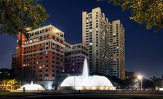 Great pic of the Hotel Zaza and Mecom Fountain in the Houston Museum District.