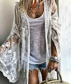 That jacket 🖤 boho hippie, boho chic, boho outfits, trendy outfits, fashion Top Fashion, Boho Fashion Summer, Fashion Clothes, Dress Clothes, Hippie Style Summer, Boho Chic Outfits Summer, Fashion Corner, Outfit Summer, Cheap Fashion