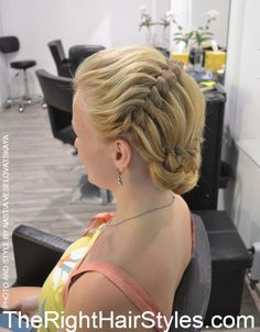 formal braided updo for medium hair