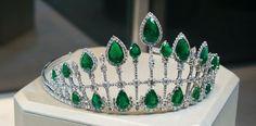 An emerald and diamond tiara