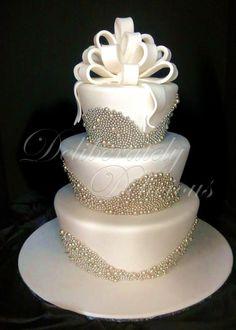 Beautiful White Wedding Cake with Pearls