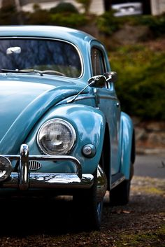 "Classic VW Beetle, aka ""Bug"", in its natural habitat... Along the streets of old European towns."