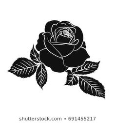 silhouette of rose isolated on white background. Flower Tattoos, Hand Tattoos, Sleeve Tattoos, All Black Tattoos, Sparrow Tattoo, Stencil Art, Stencils, Great Tattoos, Color Tattoo