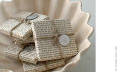 Wrapping soap in old book pages is a great idea!