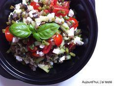 Italian-Style Salad by Aujourd'hui, j'ai testé: Green Beans, Eggplant, Cucumber, Cherry Tomatoes, Fresh Basil & Mozzarella with Olive Oil, Balsamic Vinegar, Black Pepper & Dried Herbs Vinaigrette