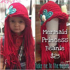 Order yours today! Mermaid Ariel Yarn Wig for Ariel Halloween Costume Crochet Kids Hats, Crochet Beanie, Crochet Baby, Crochet Wigs, Ariel Halloween Costume, Halloween Makeup, Crochet Princess Hat, Yarn Wig, Beauty Expo