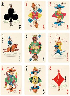 Deck of Playing Cards. Illustrator Jonathan Burton created this deck of playing cards with special illustrations for The Folio Society. Art director of thi