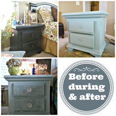 The before during and after painting with Annie Sloan chalk paint.  Duck egg blue. No priming or sanding, just paint. Love this color!