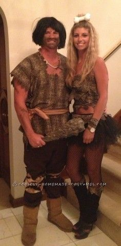 A lot of people thought we were Pebbles and Bam Bam from the Flintstones. The last-minute Cave Man and Cave Woman couple costume were very last minute...