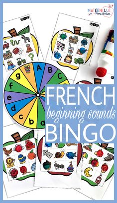 This resource is to help your students identify beginning sounds in French words, using a familiar format - Bingo! There are 18 game boards in all (in both colour and black & white), and each board works on 7-8 different beginning sounds. Game boards are grouped so that you may play this game with up to 6 students at a time. Students will spin the spinner and check their card for an image that begins with that letter's sound. When they get three in a row - Bingo!