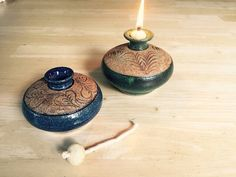 Pottery Oil Lamp, Blue with Leaves, Mountain Mud Company