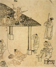 (Korea) Carpenters from Album of Genre paintings by Kim Hong-do aka Danwon. ca century CE. Traditional Japanese Art, Traditional Paintings, Korean Painting, Chinese Painting, Korean Art, Asian Art, Ink Painting, Painting Prints, Art History