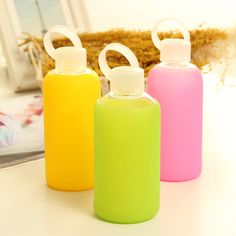 Glass water bottle with silicone sleeve, Glass bottles with protective sleeve, glass bottles with sleeve