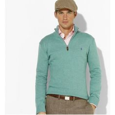 Ralph Lauren Men Mesh Cotton Half-zip Sweaters http://www.ralph