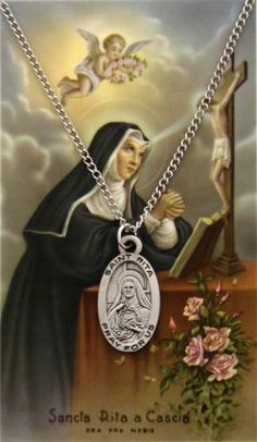 The St. Rita medal is paired with a matching laminated prayer card. Her patronage is known for lost and impossible causes, sickness, wounds, marital Saints Vs, Patron Saints, Sta Rita, St Rita Of Cascia, Catholic Art, Catholic Saints, Religious Art, Novena Prayers, Outdoor Statues