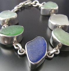 Sea Beach Glass Bracelet. Etsy. westcoastseaglass.