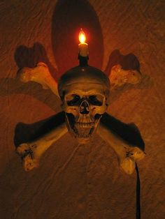 Skull Wall Sconce with Life-Size Skull and Two Femur Bones