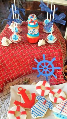 nautical Baby Shower Party Ideas Cake pops and cupcakes at a nautical baby shower! See more party pl Nautical Cake Pops, Nautical Party, Shower Party, Baby Shower Parties, Baby Showers, Boy Baby Shower Themes, Baby Boy Shower, Birthday Parties, Kid Parties