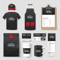 Coffee shop corporate identity template design set with coffee shop logo. Coffee Shop Logo, Coffee Shop Design, Corporate Identity Design, Branding Design, Container Restaurant, Cafe Concept, Cafe Branding, Cafe Interior Design, Food Packaging Design