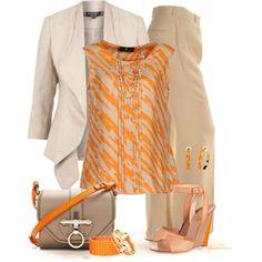 Orange & Beige, created by tufootballmom on Polyvore