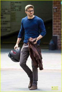 Ryan Reynolds Rides His Motorcycle