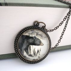 Black Bear Natural History Pendant Necklace by thelittlechickadee, $35.00