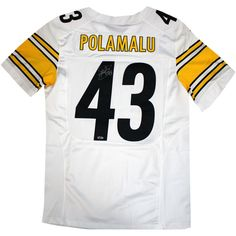 Troy Polamalu Signed Pittsburgh Steelers Nike Authentic White jersey - Steelers Great Troy Polamalu has personally hand-signed this Nike Authentic White jersey. Troy Polamalu was a standout player at the University of Southern California and earned All-American honors and then went to be drafted in the first round by the Pittsburgh Steelers in 2003. Polamalu is a two time Super Bowl Champion an eight time Pro Bowler and a 2010 Defensive Player of the year. He is considered to be one of the…