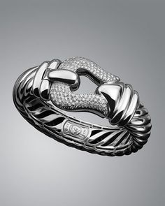 15mm Pave Diamond Cable Buckle Bracelet by David Yurman at Neiman Marcus