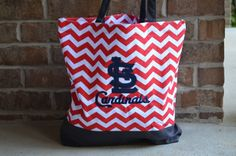 Hey, I found this really awesome Etsy listing at https://www.etsy.com/listing/166170411/st-louis-cardinal-chevron-tote