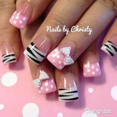 Zebra dot with bow tie nails! Fabulous Nails, Perfect Nails, Gorgeous Nails, Love Nails, Pretty Nails, My Nails, Zebra Nails, Polka Dot Nails, Pink Nails