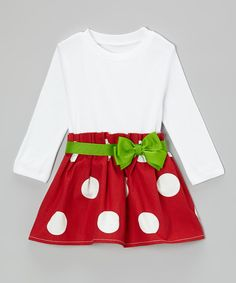 Take a look at this Red & Green Bow Dress - Infant & Toddler on zulily today!