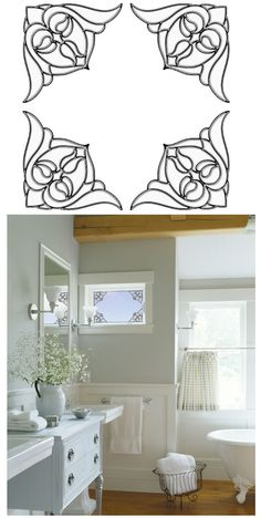 Nouveau Corners Clear Stained Glass Sticker SALE   Wall Sticker Outlet