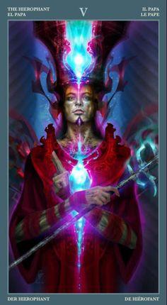 The Hierophant - Barbieri Tarot- If you love Tarot, visit me at… The Hierophant, Tarot Major Arcana, Love Tarot, Cartomancy, Italian Artist, Detail Art, Oracle Cards, Celestial, Dark Night