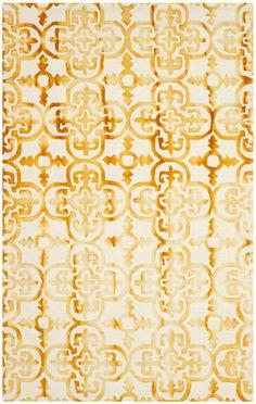 Dip Dye Ivory / Gold Area Rug | Wayfair