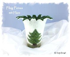 Windlicht/Vase gefilzt Tannenbaum,Filz,Weihnachten von Filzallerlei - Filzig Feines mit Herz auf DaWanda.com