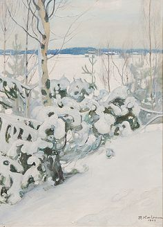 Talvipäivä (Winter Day), 1909 by Pekka Halonen Romanticism Paintings, Old Paintings, Winter Trees, Winter Day, Winter Landscape, Landscape Art, Stolen Image, Dark Tree, Snow Art