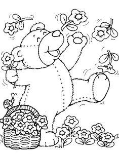Printable Spring Teddy Bear With Flowers Coloring Pages For Kids Teddy Bear Coloring Pages, Coloring Book Pages, Coloring Sheets, Teddy Bear Pictures, Bear Pics, Teddy Bear Drawing, Coloring Pages For Kids, Kids Coloring, Free Printable Coloring Pages