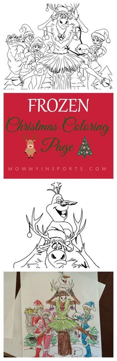 Free Frozen Christmas Coloring page, original art your kids will LOVE! Christmas Decorations For Kids, Christmas Ornament Crafts, Christmas Activities, Christmas Colors, Handmade Christmas, Frozen Activities, Christmas Ideas, Christmas Printables, Cute Coloring Pages