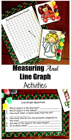 This free Christmas Measuring and Line Graph Activity is a great way to work on graphing and measuring objects to the nearest unit. Graphing Activities, Math Activities For Kids, Enrichment Activities, Counting Activities, Math For Kids, Hands On Activities, Fun Math, Math Resources, Christmas Math
