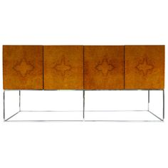 Milo Baughman; Burled Elm and Chromed Steel Sideboard for Thayer Coggin, 1970s.