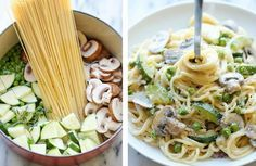 Dans une grande marmite à feu moyen, mélangez 500g de spaghetti, 350 g de petits champignons fermes émincés, 2 courgettes en morceaux peu épais...