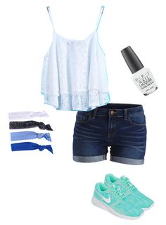 """""""What I'm wearing today"""" by abbychu ❤ liked on Polyvore featuring moda, VILA, NIKE, Glam Bands e OPI"""