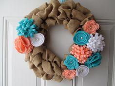 Spring Wreath, Burlap Wreath, Coral, Turquoise, and White Felt Flowers, Burlap Bubble Wreath, Easter Wreath on Etsy, $35.00