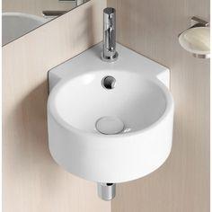 Ceramic II Vitreous China Circular Corner Bathroom Sink with Overflow bad aufbewahrung bad pimpen bad renovieren bad umbauen bad waschbecken Tiny Bathrooms, Basement Bathroom, Modern Bathroom, Modern Sink, Bathroom Ideas, Bathroom Designs, Master Bathroom, Bathroom Under Stairs, Japanese Bathroom