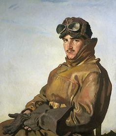 An Airman: Lieut R T C Hoidge by William Orpen    MB says:  Wouldn't this make a great romance novel cover illustration?  So brooding!