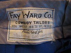 50s FAY WARD Cowboy Tailors custom Rodeo pants size medium. $115.00, via Etsy.